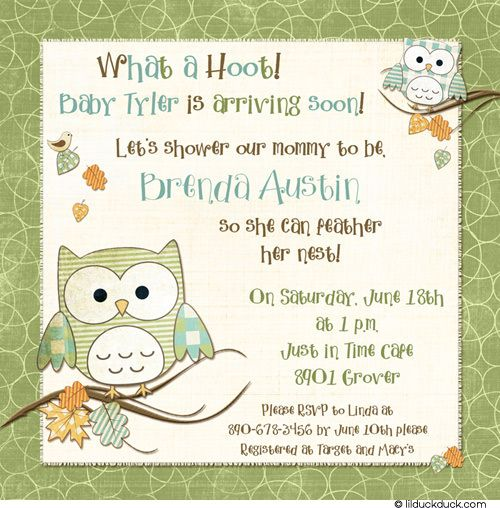 Feathery Owl Baby Shower Invitation Mommy To Be Green Blue Boy
