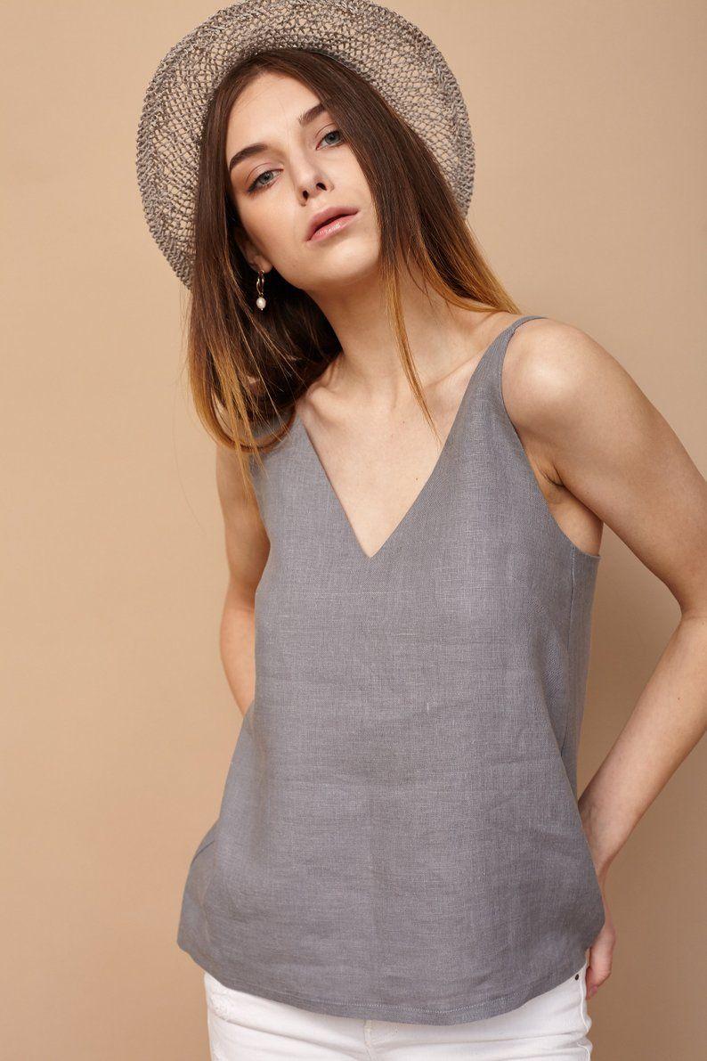 100/% Lin Top Women Grey