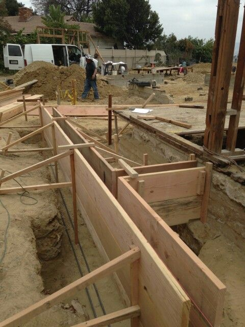 Forms Being Built For Concrete Stems Walls At Our Wrightwood Project Construction Brick Construction Rammed Earth Homes Architecture Blueprints