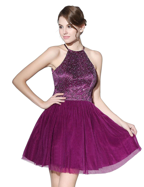 Sarahbridal womens short beading prom dresses halter homecoming ball