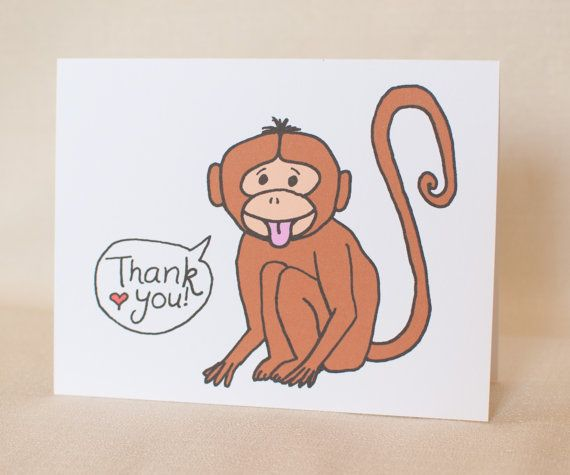 Thank you card cute monkey greeting card by madebydianalou on etsy thank you card cute monkey greeting card by madebydianalou on etsy m4hsunfo