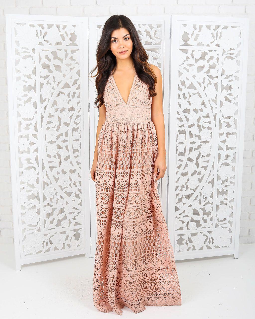 Fleur Lace Pocketed Maxi Dress - Peach