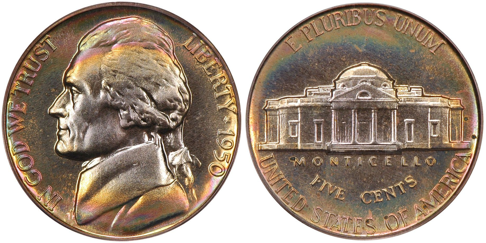 1950 Jefferson Nickel PCGS PR67 - Submitted by Thomas Bush Numismatics & Numismatic Photography (http://www.ivyleaguecoin.com) #CoinOfTheDay #COTD