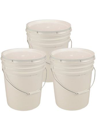 19 85 5 Gallon White Bucket Lid Set Of 3 Durable 90 Mil All Purpose Pail Food Grade Bpa Free Plasti Food Storage Food Grade Buckets Cleaning Buckets