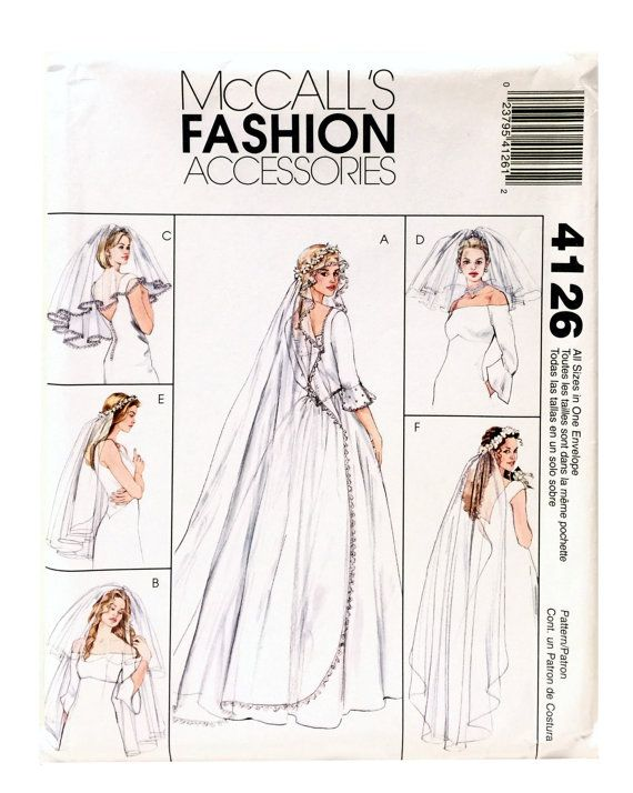 McCall\'s Fashion 4126 Sewing Pattern Bridal Veil by UpstairsAttic ...
