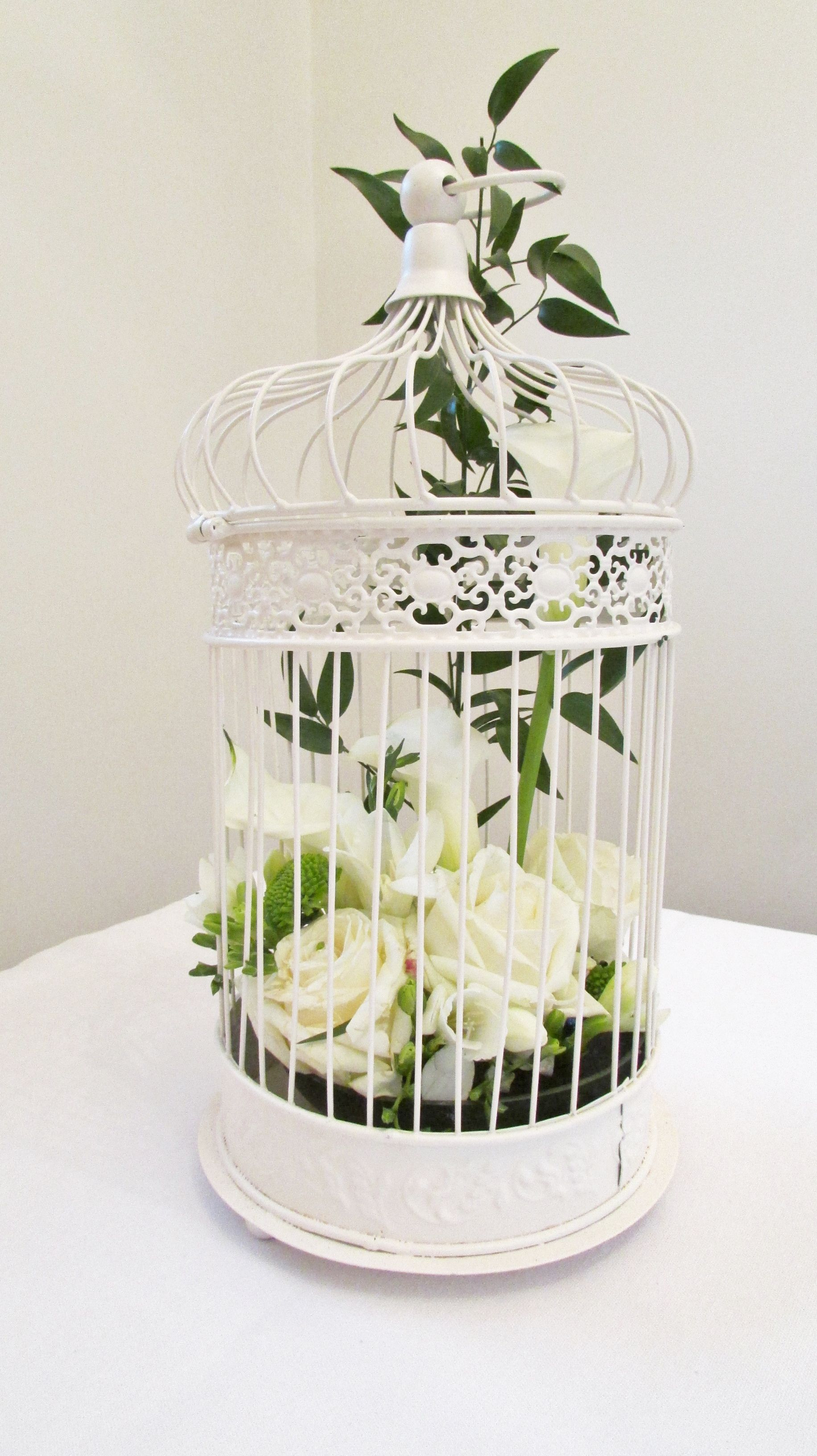Large cream bird cage with roses and calla lilly | Wedding ...