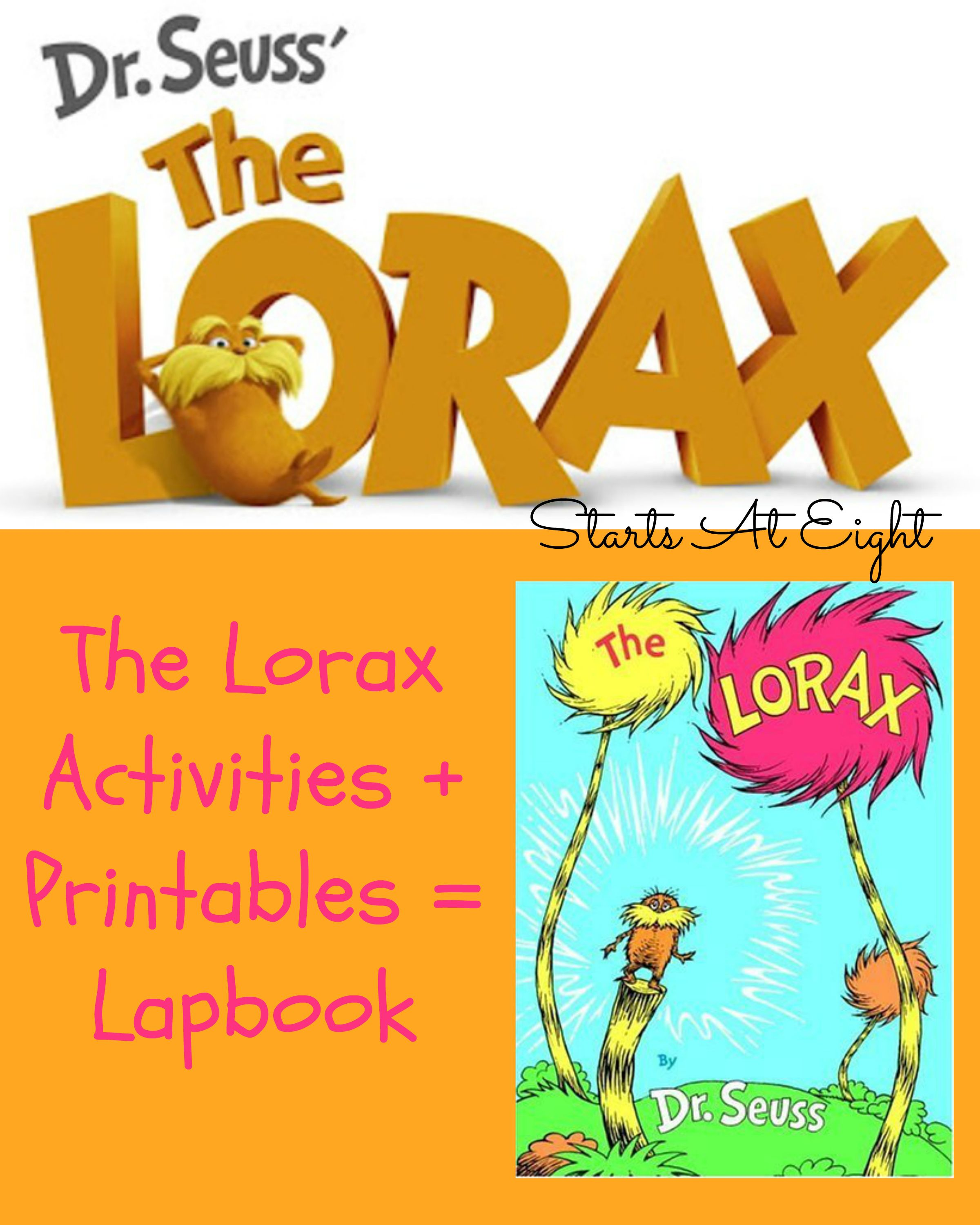 The Lorax Activites Printables Lapbook