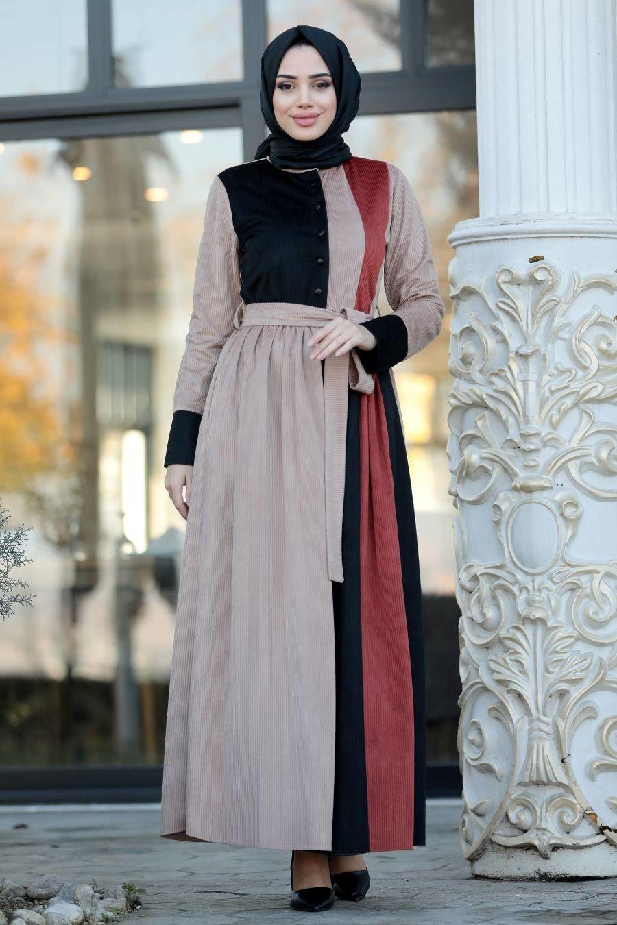 Neva Style Fitilli Kadife Kiremit Tesettur Elbise 22148krmt Tesetturisland Com Elbise Siyah Elbise Kadife