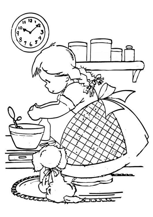 Dibujo para colorear Chica cocinando   coloring 5   Pinterest ...