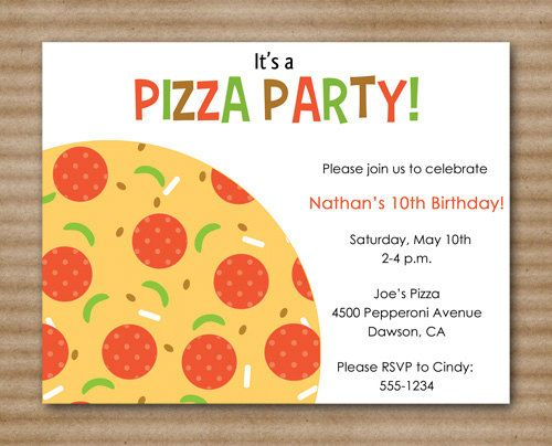 pizza party invitation / slumber party / by paperhousedesigns, Party invitations