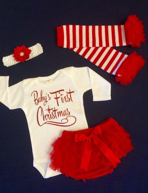 443b0da55 Babies First Christmas, 1st Christmas, Newborn Girls Christmas Outfit, Baby Girl  Christmas Outfit, Infant Girl Christmas Onesie,