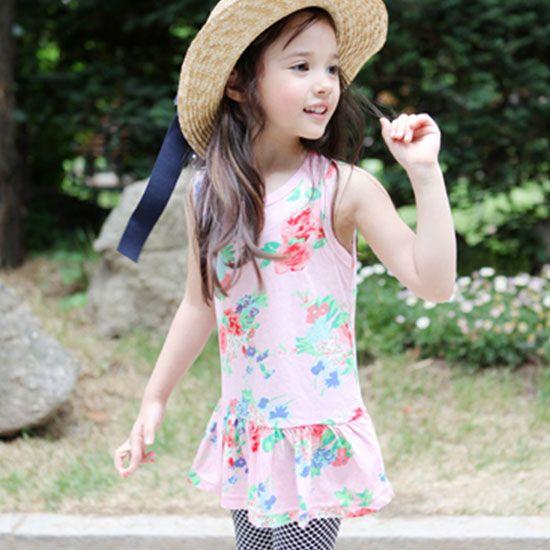 69d0d1a8848c4 Green Tomato フラワーノースリーブワンピース(ピンク) - 韓国子供服 通販 リズハピネス  キッズ服 ベビー服 男の子 女の子   こども服セレクトショップ