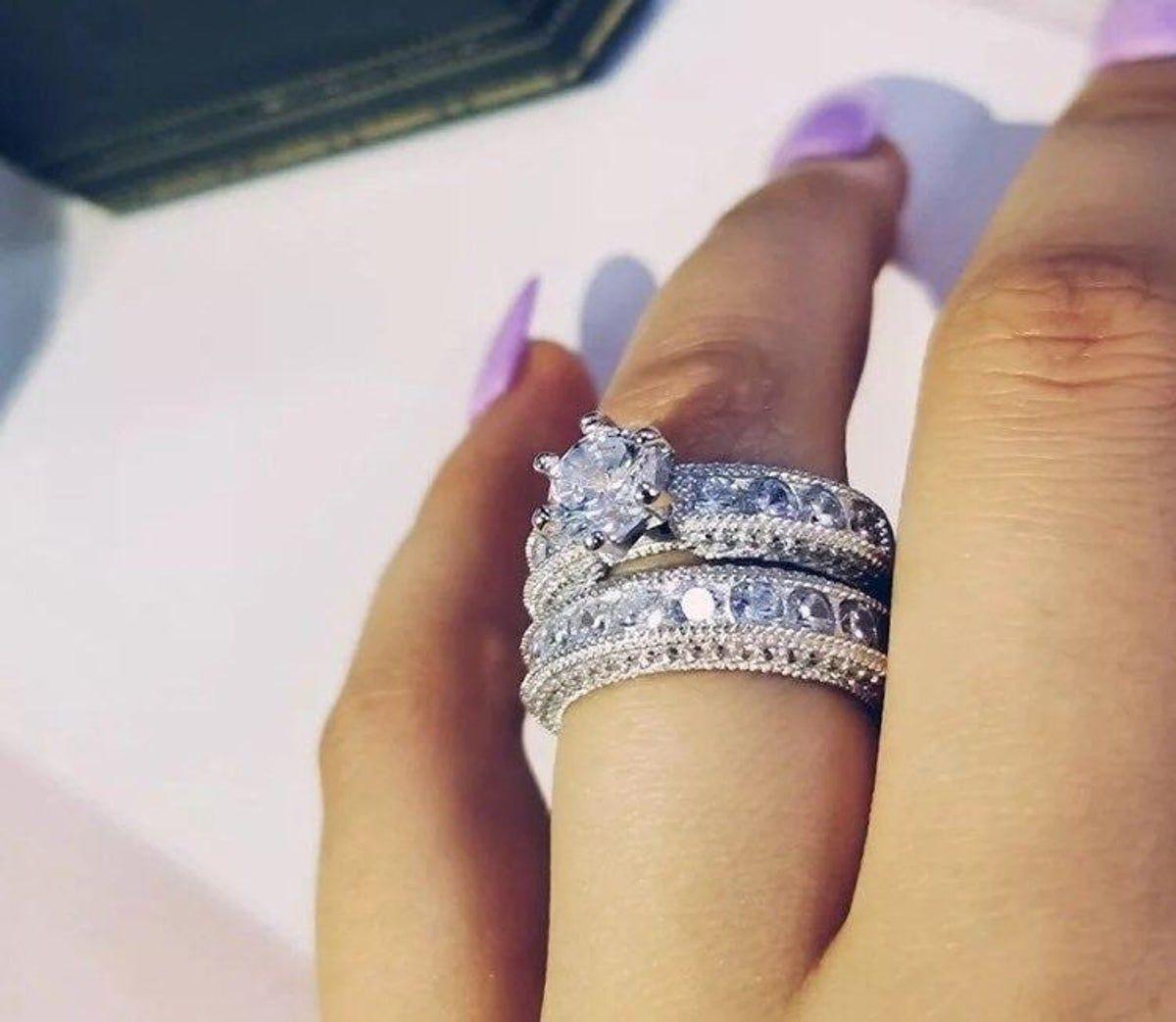 Bridal Ring Set 3 Size 8 In 2020 Big Wedding Rings Wedding Ring Sets Wedding Rings