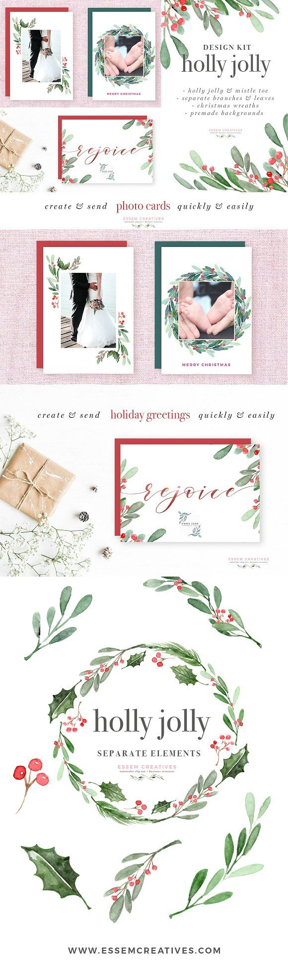watercolor holly jolly clipart christmas wreath graphics christmas card templates watercolor holiday card