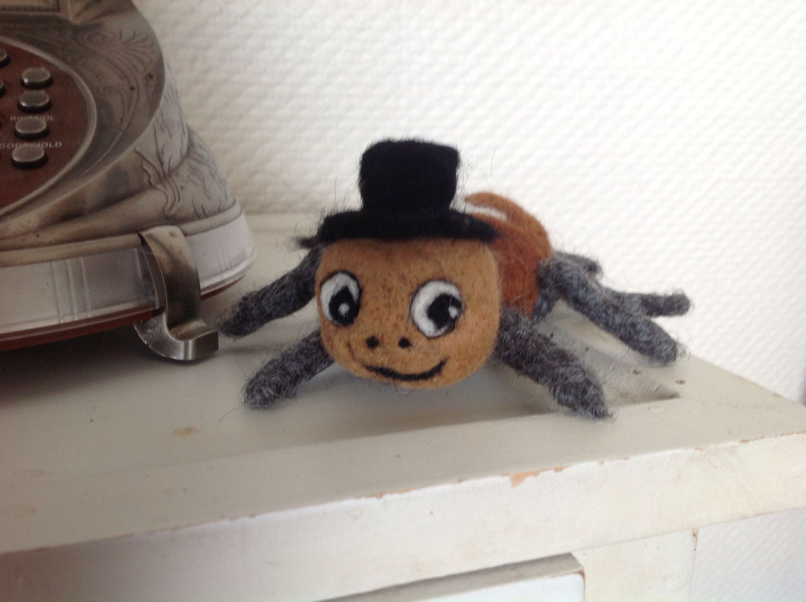 Peter Spiderman is from a Danish children song. They Can play and sing with this felted spiderman.