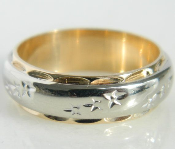 Vintage Gold Two Tone Star Wedding Band