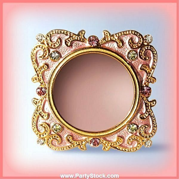 White Swarovski Crystals 24 K Pink Miniature Photo Frame For 1 Inch