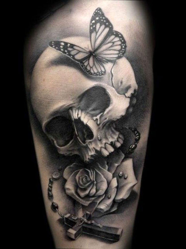 79bd5adea black-and-white skull bone with cross and roses tattoo - Tattoos.pm ...