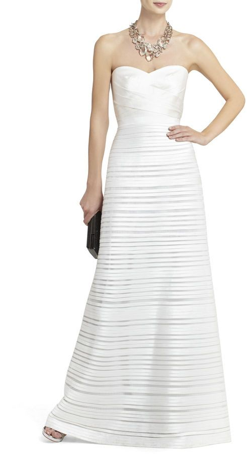 Aubrey Strapless Long Piped Dress