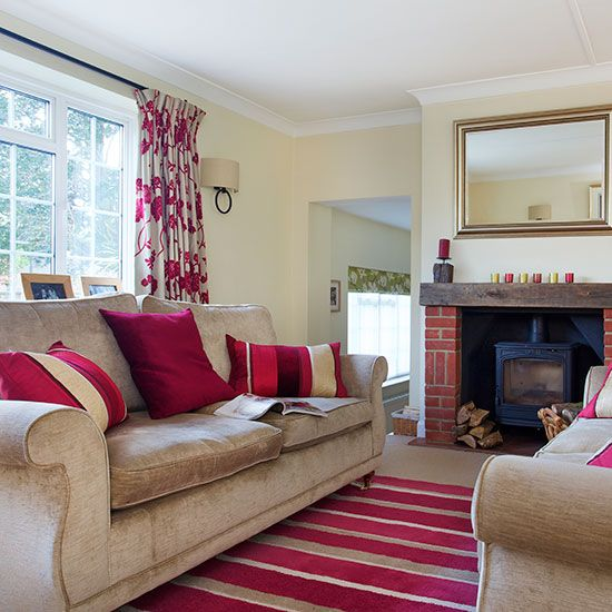 Traditional living room with pink furnishings | Living room ...