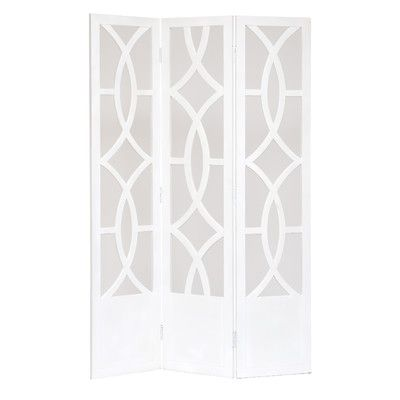 Low Price Woodland Imports Room Dividers Wood 3 Panel Screen Color: White