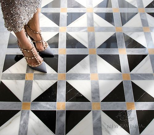 Claudius A Hand Cut Stone Mosaic Shown In Polished Allure Xanadu Nero