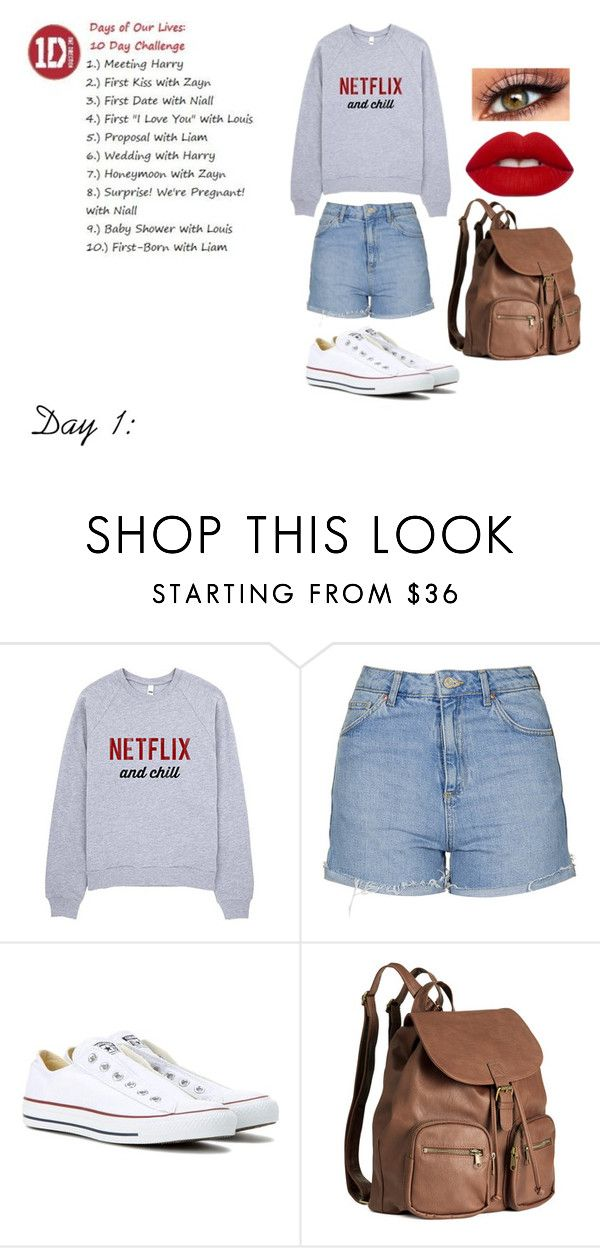 """""""Day of Our Lives Challenge Day 1:"""" by sassyunicorngurl ❤ liked on Polyvore featuring Topshop, Converse, H&M and Lime Crime"""