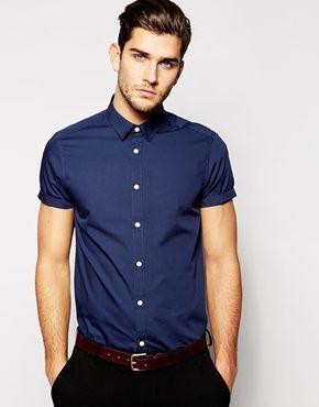 ASOS Navy Short Sleeve Button Up | men clothes | Pinterest | Navy ...