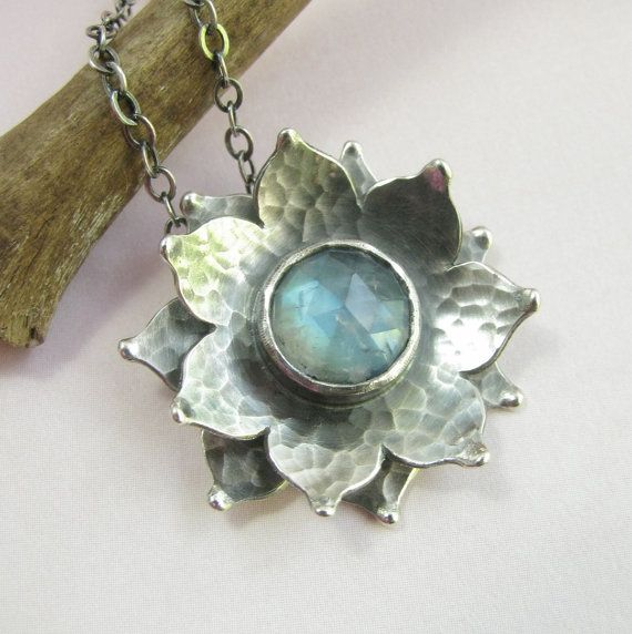Rainbow Moonstone necklace, Lotus Necklace, Unique Handcrafted Argentium Sterling Silver Jewelry, Flower Necklace #lotusflower