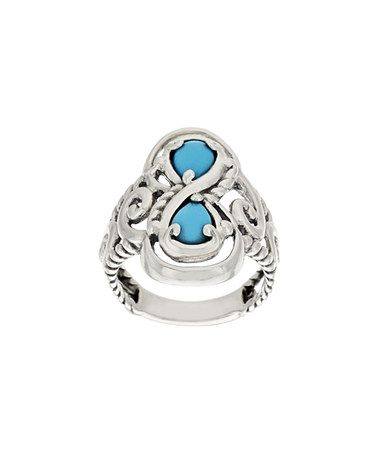 Loving this Sleeping Beauty Turquoise & Sterling Silver Doublet Ring on #zulily! #zulilyfinds