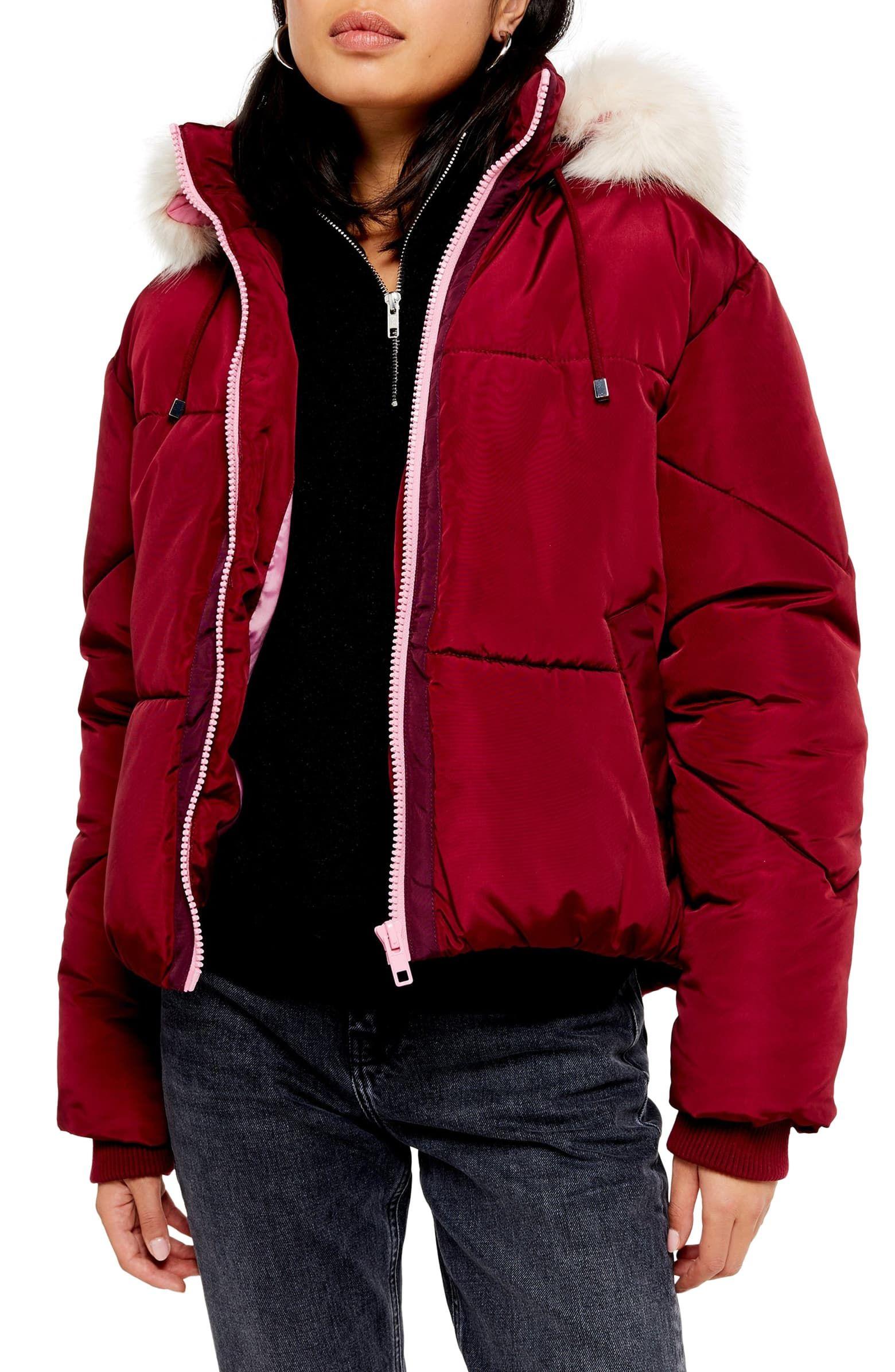 Fur Leather Jacket Topshop