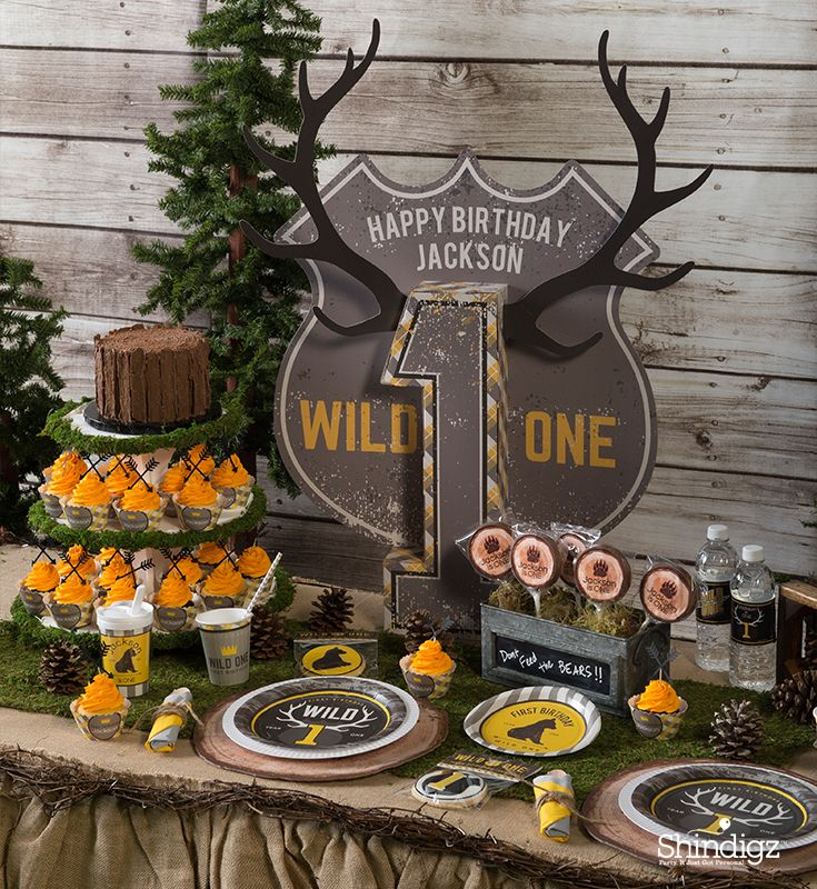 Have A Wild 1 Year Old Celebrate Their Birthday With A Wild One 1st Birthday Pa Wild One Birthday Party Boys First Birthday Party Ideas Hunting Birthday Party
