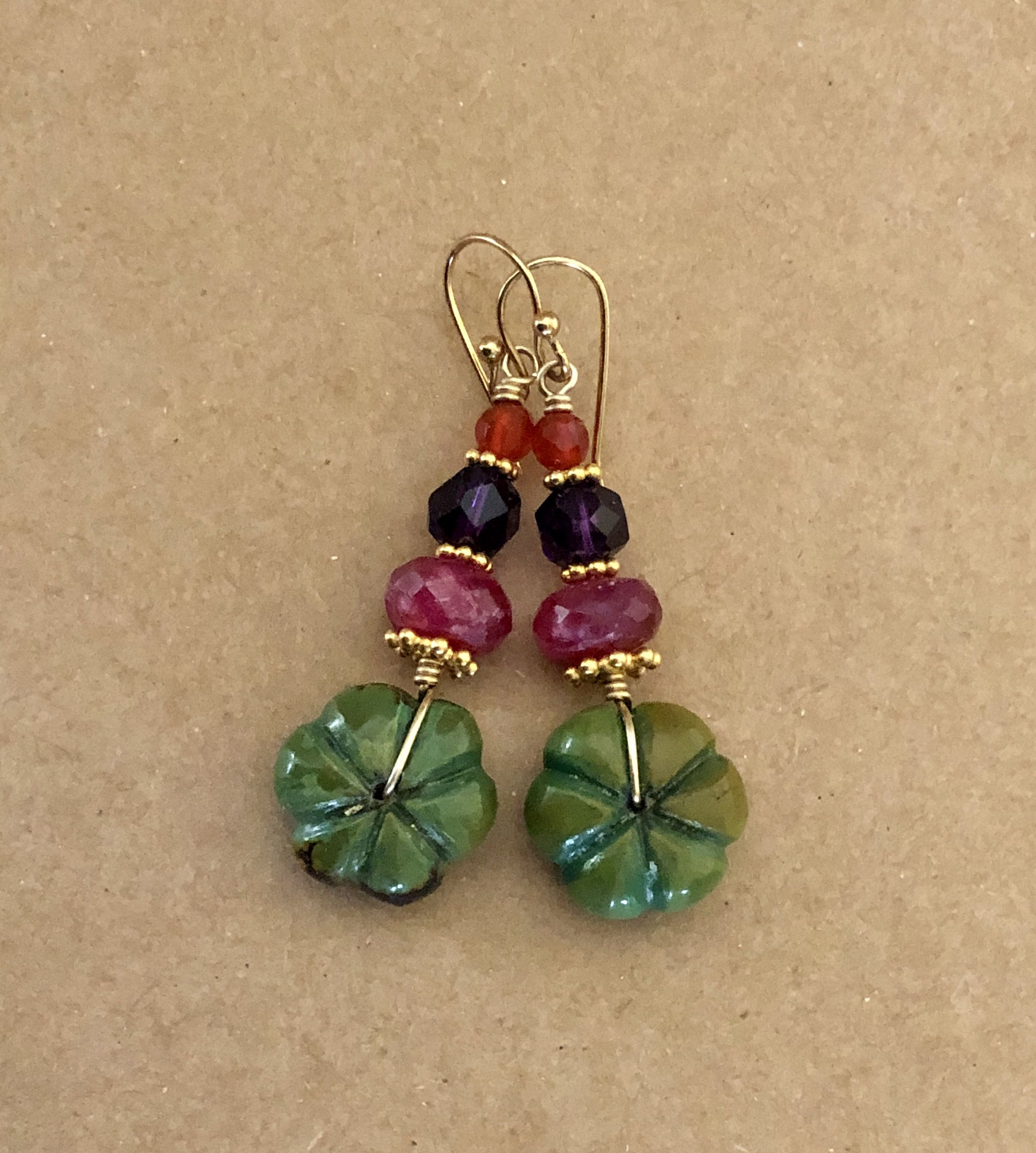 PURPLE COPPER TURQUOISE Gemstone beautiful Dangle Earring