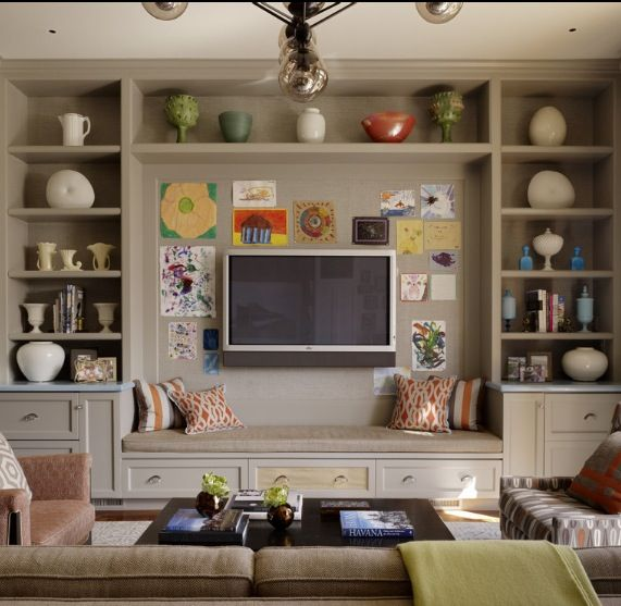 Love The Tv Placement Bench Providing Extra Seating Storage Contemporary Family Rooms Family Room Design Eclectic Living Room