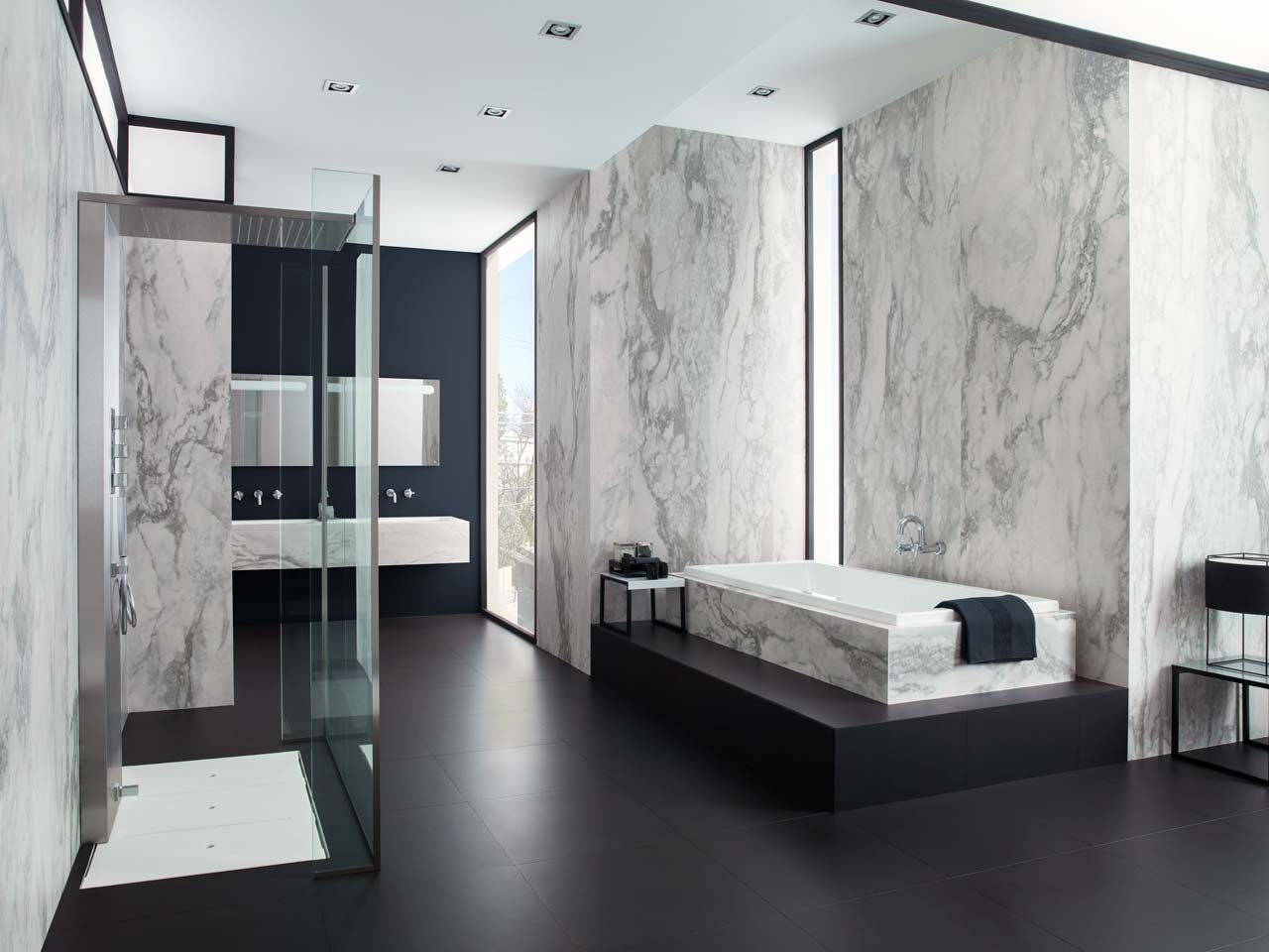 This new porcelain tile by urbatek is characterised by its for Porcelanosa bathroom ideas