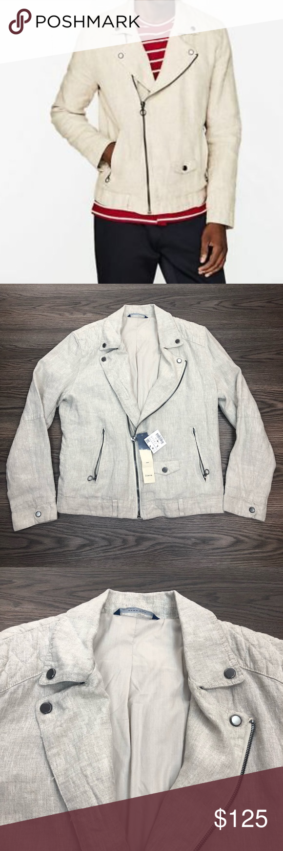4f6ce892b516 Zara Man NWT Cream Linen Biker Bomber Jacket L Zara Man Solid Cream Linen  Bomber Biker Jacket size L! NEW WITH TAGS! Please make reasonable offers  and ...