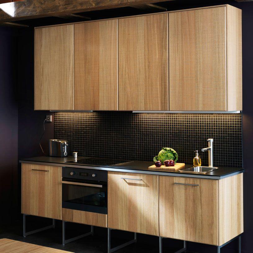 Ikea moderna cocina de una sola hilera con frentes hyttan for Una cocina moderna