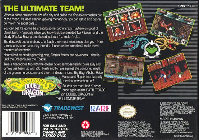 Battletoads Double Dragon Box Back With Images Double Dragon