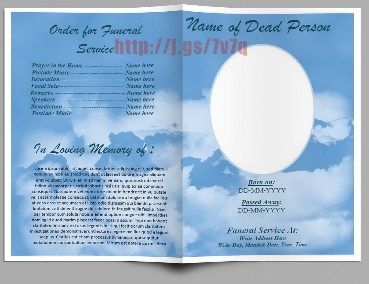 Funeral program in word australia outside pages download for Free funeral program template