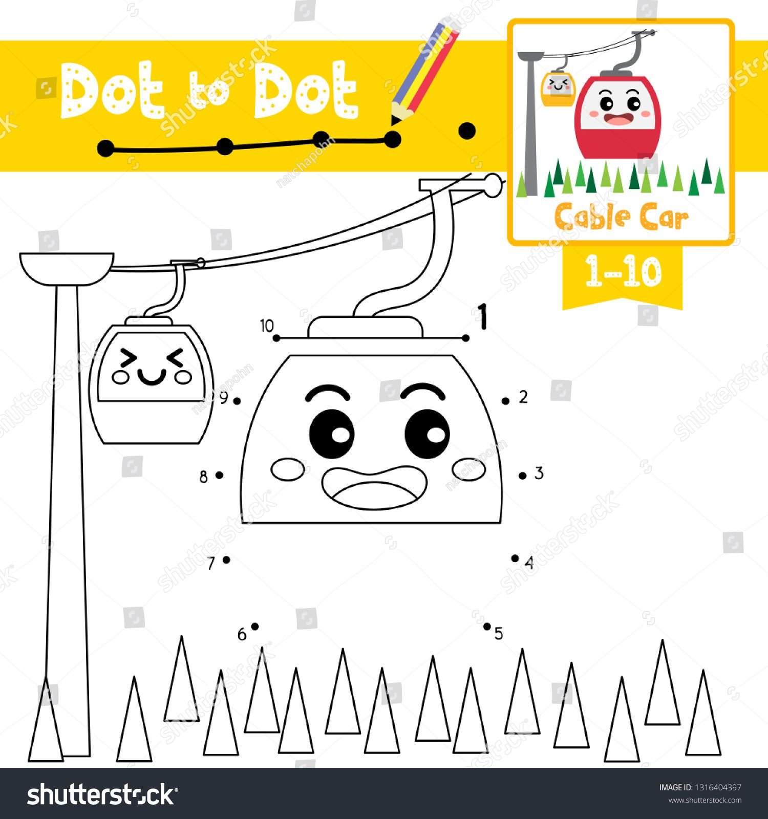 Dot To Dot Educational Game And Coloring Book Of Cable Car