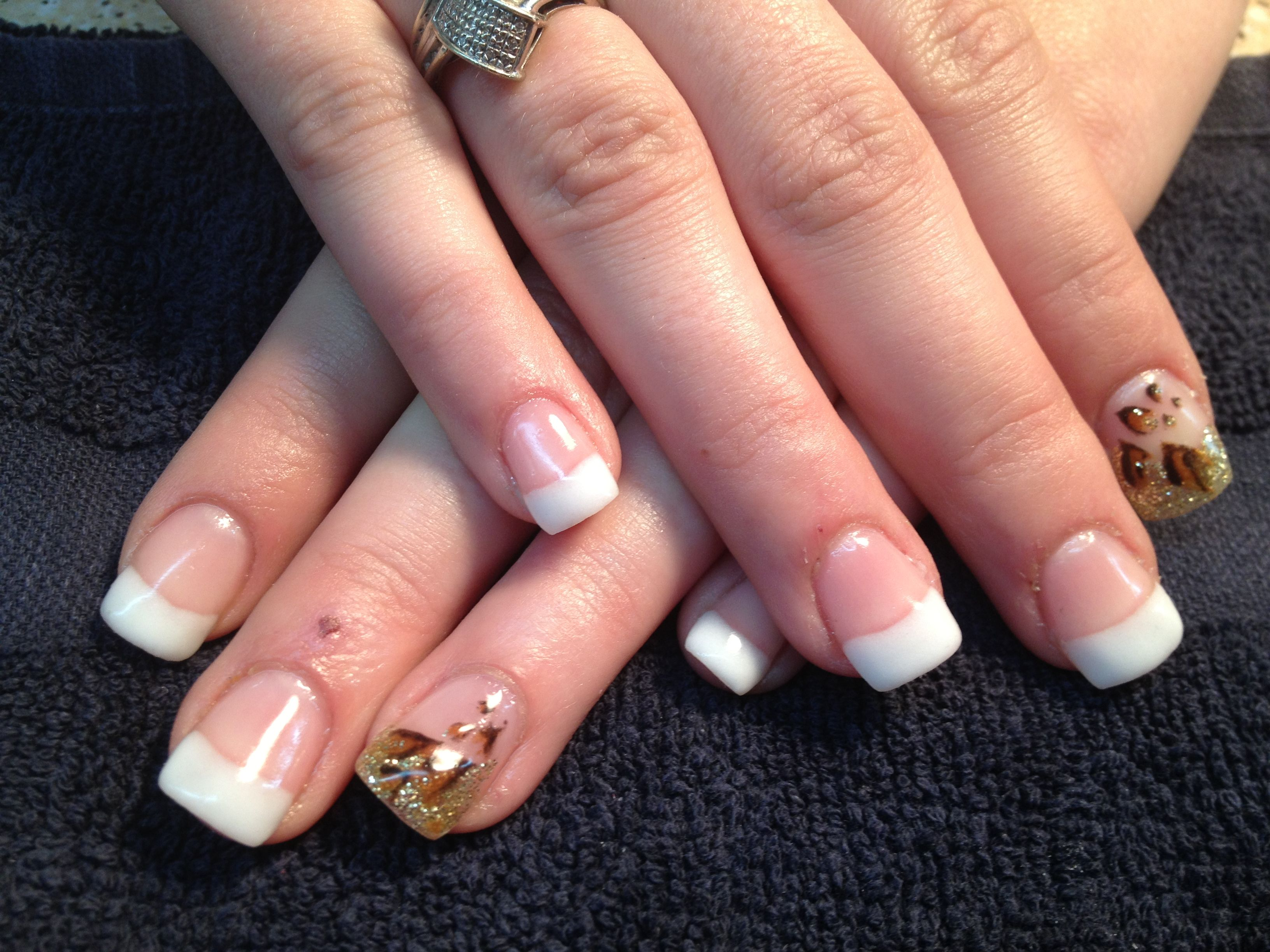 French Tip with a touch of cheetah - Elegant Gel nails done with ...