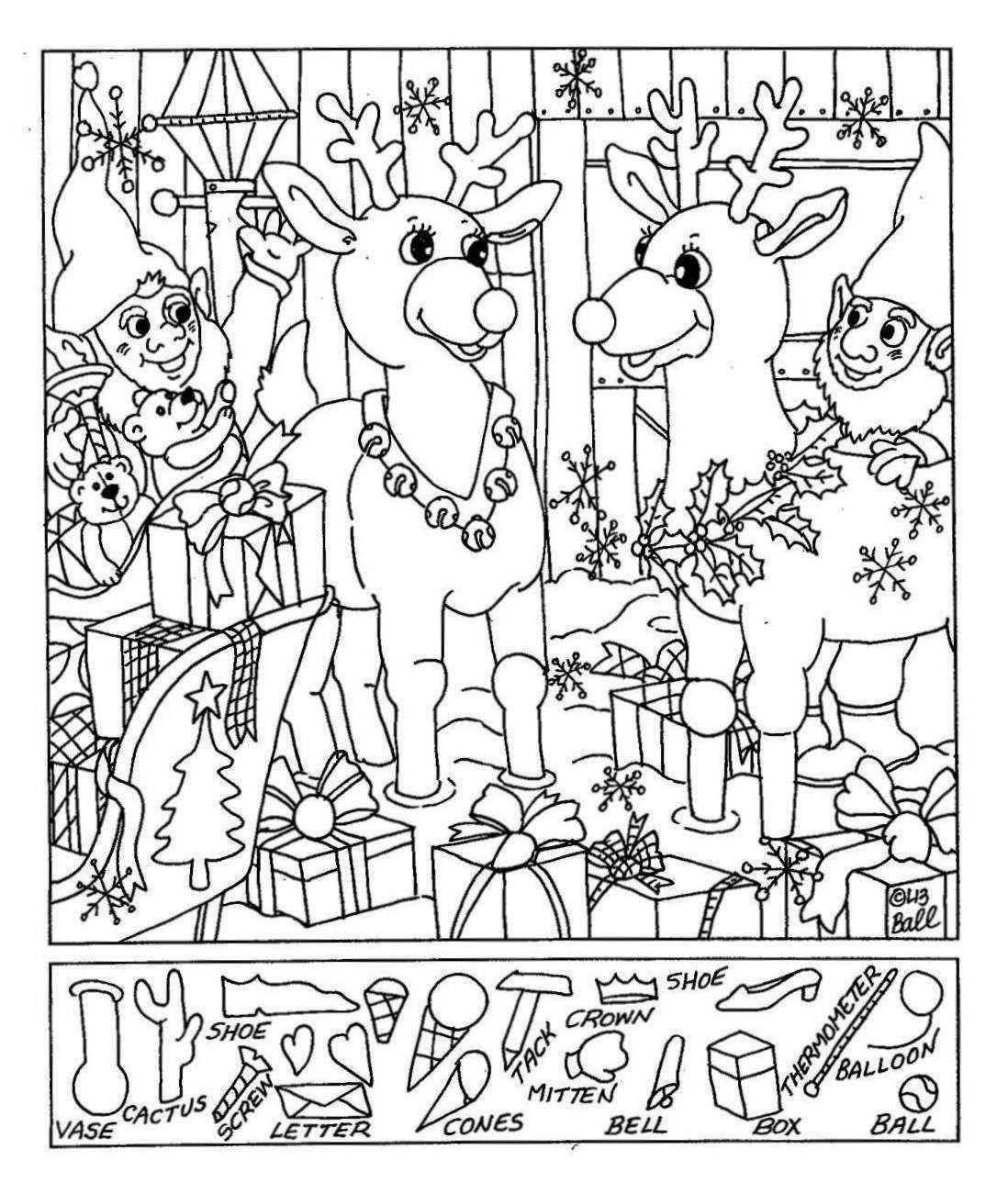 Lizs Hidden Pictures reindeer  christmas  Pinterest  Hidden