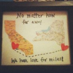 A Map Of Your Two Locations Is Unique Birthday Gift For Long Distance Boo