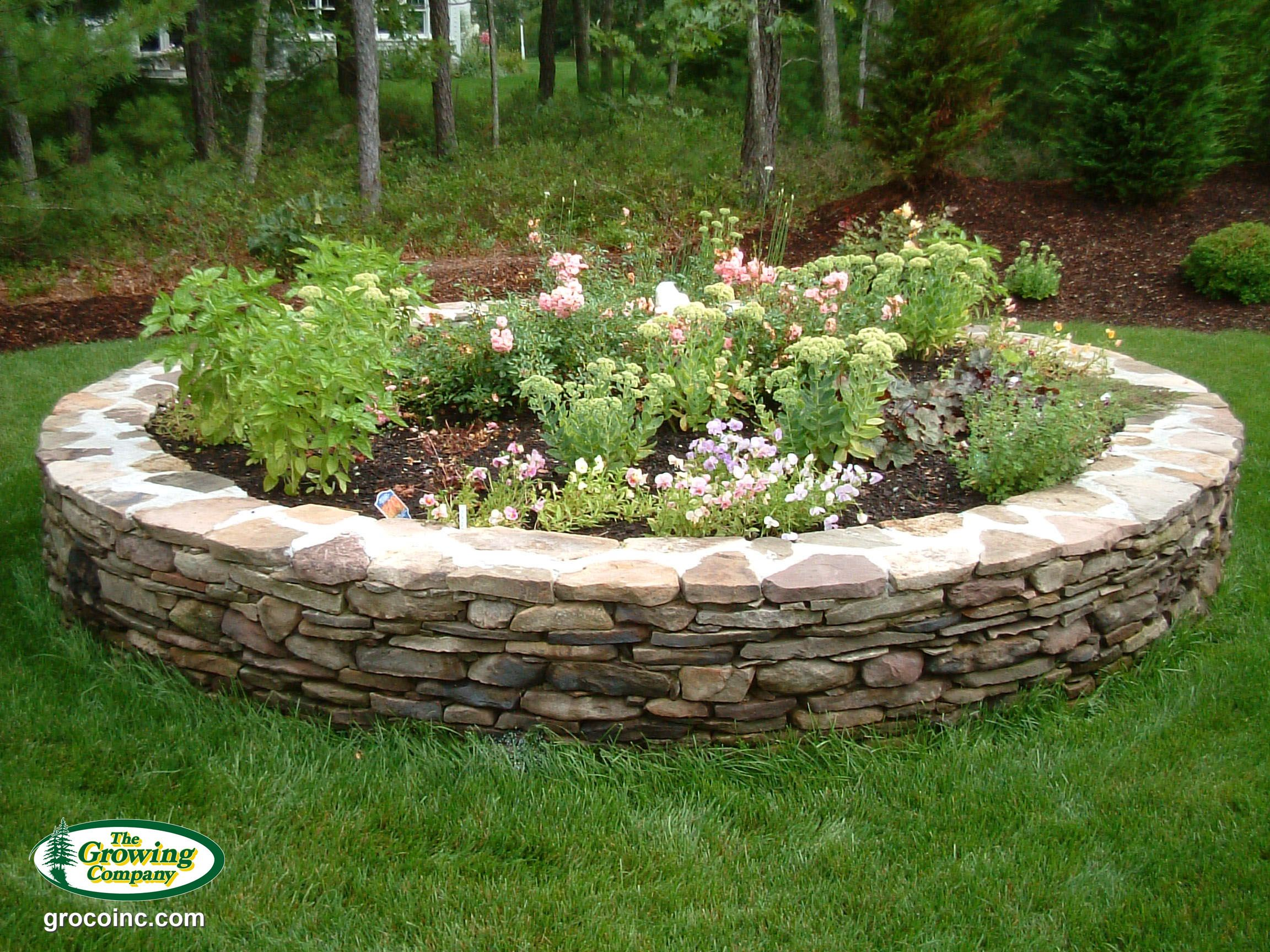 We Use Only Natural Stone In The Construction Of Walls Edging Patios And Walkways Hardscape Patio Circle Driveway Landscaping Hardscape Design Hardscape