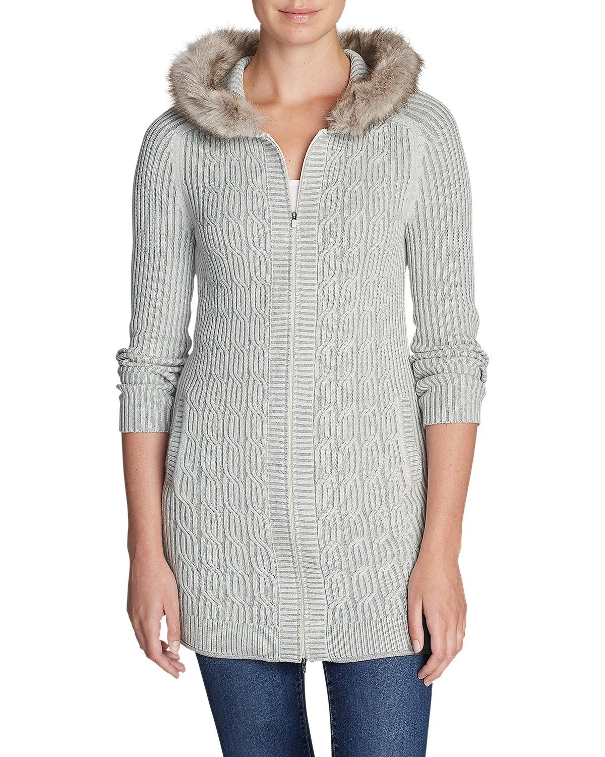 Photo of Women's Shasta Faux Fur Hooded Cardigan Sweater