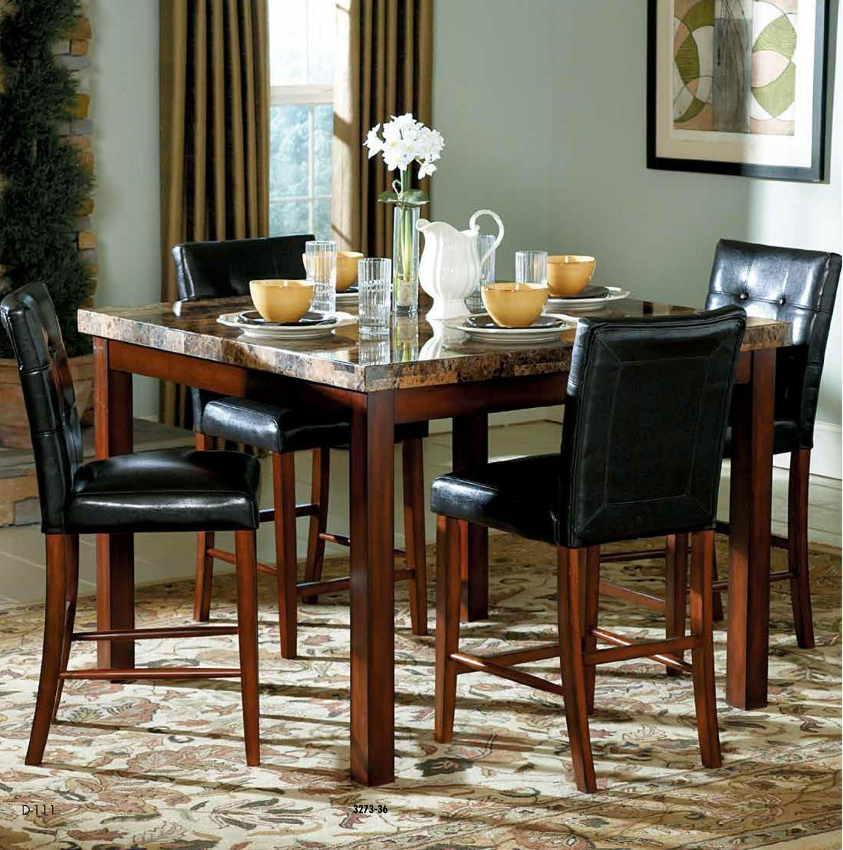 Achillea Collection Counter Height Dining Table And Chairs   Home ...