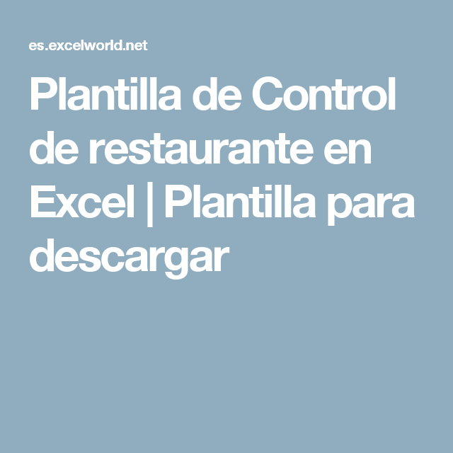 Plantilla de Control de restaurante en Excel | Plantilla para ...