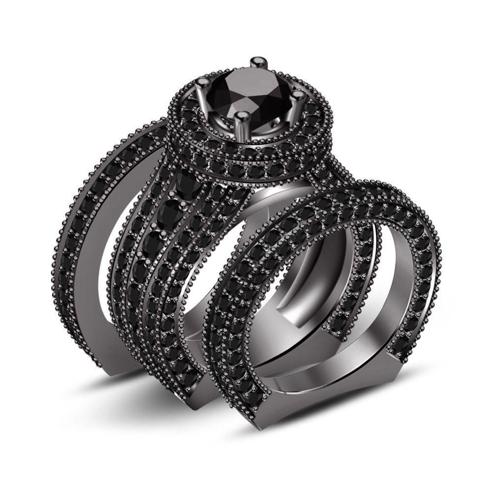 Black gold finish natural real diamond wedding ring mens