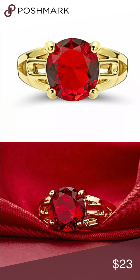 New red ruby garnet wedding ring 18KT yellow gold