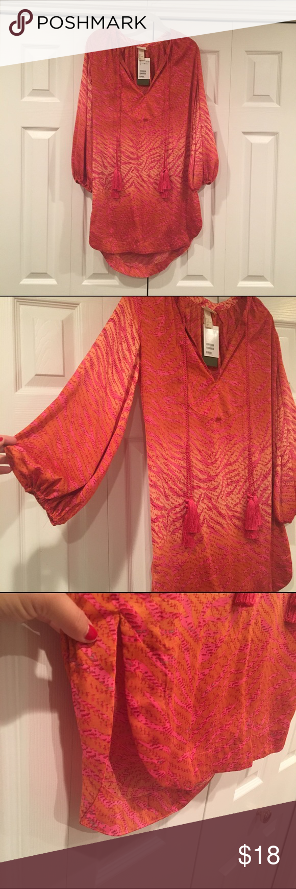 "H&M orange/pink printed tunic beach coverup H&M pink zebra patterned tunic with different shades of orange. Size 6 but fits a little bigger - think it would make a perfect and fun beach coverup for spring break. Sleeves are wider and cinched at end. Roped tassels. Last pic is to show the side slit (little too short to wear as dress) length in front is 31"", back is 33"". So pretty in person and great fabric - NWT! H&M Dresses"